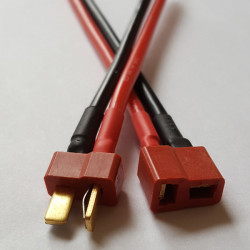 Deans style connector Male+Female with 14awg wire 10cm (pair)