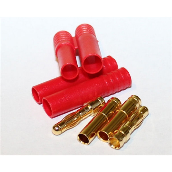 HXT 4mm Gold Connectors with Protectors 5pk